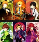 6boys bellflower black_eyes black_hair bleach blonde blonde_hair blue_eyes brown_eyes brown_hair character_name cherry_blossoms company_connection crossover eyeshield_21 flower formal green_eyes hat highres himura_kenshin kaze-hime kobayakawa_sena kurosaki_ichigo leaf long_hair male monkey_d_luffy multicolored_hair multiple_boys naruto necktie one_piece orange_hair ponytail purple_eyes red_eyes red_hair redhead rurouni_kenshin scar serious short_hair shounen_jump sitting standing suit suspenders sword tattoo uzumaki_naruto violet_eyes weapon wink yami_yuugi yu-gi-oh! yuu-gi-ou yuu-gi-ou_duel_monsters