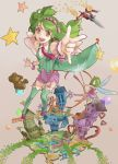 \m/ bow dual_persona green_hair hair_bow highres jet macross macross_frontier macross_frontier:_sayonara_no_tsubasa mecha necktie ranka_lee red_eyes senpuuki short_hair smile star stuffed_animal stuffed_toy teddy_bear thigh-highs thighhighs vf-25 wings yf-29
