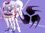 1girl alternate_color alternate_costume alternate_hair_color blue_eyes bow brooch choker cure_melody frilled_skirt frills gloves gradient_hair hair_ornament hair_ribbon heart houjou_hibiki jewelry kamen_rider kamen_rider_hibiki_(series) long_hair looking_at_viewer magical_girl midriff multicolored_hair open_mouth pink_hair precure ribbon shoes silver_hair skirt smile solo suite_precure syu-ho2501 twintails