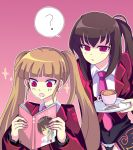 ? belphegor black_hair blonde_hair coat_of_arms coffee company_connection creator_connection crossover cup higurashi_no_naku_koro_ni long_hair maebara_keiichi necktie open_book open_mouth plate ponytail reading red_eyes simple_background sparkle spoon stakes_of_purgatory sugar twintails umineko_no_naku_koro_ni vest