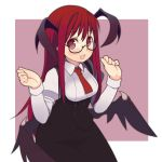 :d bat_wings bespectacled blush demon_wings fang glasses head_wings highres koakuma long_hair necktie open_mouth oza_watto red_eyes red_hair redhead smile solo the_embodiment_of_scarlet_devil touhou wings
