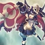 armor blue_hair cape doll_joints duel_monster fan gauntlets gunbai helmet kabuto karakuri karakuri_shougun_burei midriff mtu navel open_mouth red_eyes samurai samurai_armor shide shimenawa smile solo war_fan wink yu-gi-oh! yuu-gi-ou yuu-gi-ou_duel_monsters