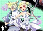 1boy 1girl bare_shoulders blonde_hair blush bow breasts brother_and_sister child doctor drill_hair elbow_gloves fang flat_chest gloves hair_bow hair_ornament hat intravenous_drip kagamine_len kagamine_rin koiiro_byoutou_(vocaloid) mouth_hold nata nurse nurse_cap open_mouth pantyhose ponytail project_diva project_diva_2nd red_eyes short_hair siblings small_breasts smile sweatdrop thigh_boots thighhighs twin_drills twins twintails uniform vocaloid