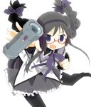 akemi_homura black_hair bomb braid glasses hairband magical_girl mahou_shoujo_madoka_magica open_mouth pantyhose purple_eyes red-framed_glasses solo spoilers throwing twin_braids violet_eyes wara_(warapro) weapon