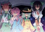 4girls animal_ears arm_cannon arm_sling bandages black_hair black_wings blood blood_on_face bloody_clothes blue_dress braid breasts cape cat_ears cat_tail chain chained cleavage dress extra_ears eyepatch fangs glowing glowing_eyes green_dress green_eyes hairband kaenbyou_rin komeiji_koishi komeiji_satori large_breasts long_hair long_sleeves looking_at_viewer minoru multiple_girls multiple_tails open_mouth pink_eyes purple_hair red_eyes redhead reiuji_utsuho shaded_face shirt short_hair short_sleeves siblings silver_hair sisters skirt slit_pupils space tail third_eye touhou twin_braids v_arms weapon wide_sleeves wings yellow_dress