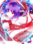 absurdres bad_id bad_perspective bow colored_eyelashes eyelashes fish foreshortening hat hat_removed headwear_removed highres nagae_iku outstretched_arms purple_hair red_eyes shawl short_hair solo spread_arms suzuchi1218 touhou
