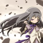 akemi_homura black_hair hair_flip hairband kuinji_51go long_hair magical_girl mahou_shoujo_madoka_magica purple_eyes shield solo violet_eyes