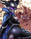 belt breasts cape gauntlets huujyu kamen_rider kamen_rider_ooo_(series) leather mezul monster monster_girl orca purple_eyes red_eyes