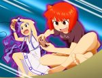 armpits aura barefoot blue_eyes blue_hair casual clothes_writing clothing_writing controller dress face feet game_controller gamepad hat highres ikamusume indian_style joystick long_hair playing_games red_eyes red_hair redhead shinryaku!_ikamusume short_hair sitting soles ssy tentacle_hair toes