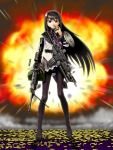 akemi_homura assault_rifle azusa_yukimasa bipod black_hair black_legwear bullet explosion explosive fn_minimi grenade grenade_launcher gun hairband highres long_hair m203 m249 m4_carbine machine_gun magical_girl mahou_shoujo_madoka_magica mouth_hold panties panties_under_pantyhose pantyhose purple_eyes rifle scope shell_casing shield solo underbarrel_grenade_launcher underwear violet_eyes weapon