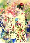 branch flower hair_flower hair_ornament highres japanese_clothes kimono obi original oyabin_(shikouann) patterned plum_blossom plum_blossoms profile short_hair solo traditional_media watercolor_(medium)