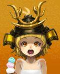 :o blonde_hair child eyes face food helmet ice_cream kabuto muuten onegai!_ranking onegai_yellow open_mouth orange_eyes samurai_helmet shocked_eyes short_hair solo surprised tongue uvula