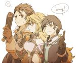 2boys ? alvin_(tales_of_xillia) bare_shoulders black_hair blonde_hair brown_hair english finger_gun gloves gun hacho jude_mathis long_hair milla_maxwell multiple_boys side-by-side smile tales_of_(series) tales_of_xillia very_long_hair weapon white_background yellow_eyes