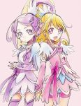 2girls :d aida_mana blonde_hair cure_heart cure_sword dokidoki!_precure hands_together kenzaki_makoto kurochiroko multiple_girls open_mouth pink_background pink_eyes precure purple_hair smile violet_eyes