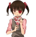 brown_eyes brown_hair eating eyepatch food fruit hair_bobbles hair_ornament holding holding_spoon lowres naname_(danbooru_maker) original parfait short_hair short_twintails solo spoon strawberry twintails