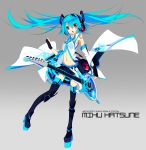alternate_costume black_legwear blue_hair guitar hatsune_miku instrument midriff open_clothes open_mouth red_eyes shirokitsune solo star thigh-highs thighhighs vocaloid zettai_ryouiki