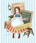 bad_id blouse blush boots bow braid brown_boots brown_hair chalkboard dress dress_shirt english flower flower_pot flowers frills green_eyes ladder lantern leaves menu mikihisa415 numbers original plants ribbon ribbons rope sign signature solo step_ladder striped striped_background striped_dress stripes table twintails watering_can young