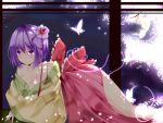 absurdres bad_id bare_shoulders bow breasts butterfly cherry_blossoms cleavage fingernails flower full_moon hair_flower hair_ornament hieda_no_akyuu highres japanese_clothes large_breasts legs lipstick makeup moon nail nail_polish nails night off_shoulder petals purple_eyes purple_hair revision short_hair solo suzuchi1218 touhou undressing violet_eyes