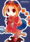 blush braid brown_eyes engrish gloves goggles gurumin long_hair orange_hair parin ranguage skirt twin_braids wand zipper