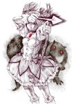 arrow bow_(weapon) bubble_skirt choker covering covering_eyes covering_face glowing glowing_eyes graphite_(medium) highres kaname_madoka kyubey magical_girl mahou_shoujo_madoka_magica mandeid monochrome pizza_man puffy_sleeves short_hair short_twintails simple_background traditional_media twintails weapon