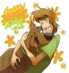 blue_eyes brown_hair dog dog_collar flower hug norville_rogers nyu scoobert_doo scooby-doo shaggy smile stubble t-shirt wink