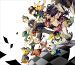 baseball_cap black_hair border bow bowtie brown_eyes checkered checkered_floor child clenched_hands dark_skin dent_(pokemon) dwebble excadrill fingerless_gloves fist gloves green_eyes green_hair grin hair_bow hat highres iris_(pokemon) long_hair open_mouth oshawott pansage pidove pikachu pokemon pokemon_(anime) pokemon_(game) pokemon_black_and_white pokemon_bw red_eyes running satoshi_(pokemon) scraggy sewaddle short_hair smile snivy tepig tuxedo whitewashed yuuichi_(bobobo)