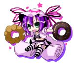 chibi doughnut facial_mark fang green_eyes hat ichimi merry_nightmare midriff open_mouth pink_jacket pink_skirt purple_hair skirt smile solo striped striped_legwear striped_thighhighs tank_top thighhighs yumekui_merry