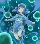 blue_hair blush boots bubble closed_eyes dress eyes_closed face hair_bobbles hair_ornament hat kawashiro_nitori key knees pocket pockets short_hair short_twintails skirt solo touhou twintails under_water underwater water yudepii yuderupii