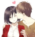 1boy 1girl black_hair brown_hair closed_eyes eren_jaeger eye_kiss hand_on_shoulder jacket kiss mikasa_ackerman shingeki_no_kyojin short_hair simple_background white_background yasai_(getsu)