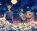1girl bad_id black_hair brother_and_sister brown_eyes flower full_moon inuyasha japanese_clothes kirara kohaku_(inuyasha) long_hair mg_(3458) moon night night_sky petals sango siblings sky smile star star_(sky) starry_sky