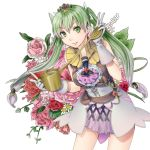 1girl double_v dress flower frey_(rune_factory) gloves gradient_hair green_eyes green_hair hair_ornament long_hair multicolored_hair rune_factory rune_factory_4 sakurage solo twintails v watering_can