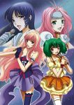 absurdres blue_eyes choujikuu_yousai_macross dress fang green_eyes headband highres long_hair lynn_minmay macross macross_7 macross_frontier microphone multiple_girls mylene_flare_jenius mylene_jenius orange_dress pink_hair ranka_lee red_eyes sheryl_nome short_hair the_super_dimension_fortress_macross thigh-highs thighhighs tsunoda_wei