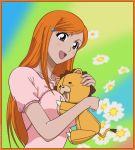 bleach breast hug inoue_orihime kon orange_hair pink_shirt signed vector