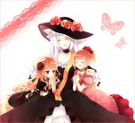 3girls beatrice blonde_hair blue_eyes butterfly closed_eyes dress dual_persona flower hair_flower hair_ornament hat hime_cut long_hair multiple_girls rose silver_hair smile suzushiro_kurumi time_paradox umineko_no_naku_koro_ni ushiromiya_beatrice virgilia young