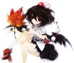 black_hair black_wings duca hat highres red_eyes shameimaru_aya short_hair skirt solo tokin_hat touhou wings