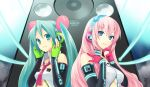 aqua_eyes aqua_hair bare_shoulders blue_eyes breasts chin_grab cleavage fingerless_gloves gloves graphite_(medium) hands_on_headphones hatsune_miku headphones headset highres hijikini lips long_hair megurine_luka mixed_media multiple_girls nail_polish necktie neon_trim pink_hair speaker traditional_media twintails underboob vocaloid