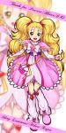 bag blonde_hair boots bow brooch character_name dress earrings futari_wa_precure futari_wa_precure_max_heart futari_wa_pretty_cure futari_wa_pretty_cure_max_heart green_eyes hair_ribbon heart humiu jewelry kujou_hikari long_hair maeashi magical_girl precure pretty_cure ribbon shiny_luminous smile solo twintails zoom_layer