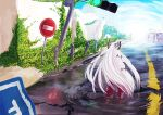 bow from_behind fujiwara_no_mokou hair_bow long_hair pants plant reflection road_sign sign solo stoplight touhou traffic_light very_long_hair water white_hair wingedleek