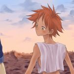 back bare_shoulders blush cloud clouds cowboy_bebop crop_top edolove edward_wong_hau_pepelu_tivrusky_iv from_behind hand_holding holding_hands looking_back messy_hair no_bra pouty_lips red_hair redhead short_hair sky sleeveless sleeveless_shirt spike_spiegel sunset tan wasteland yellow_eyes