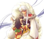 1girl armor black_hair brown_eyes child facial_mark fingernails hexagon inuyasha japanese_clothes kimono long_hair nail nails one_side_up open_mouth pointy_ears rin_(inuyasha) sesshoumaru shirou_(vista) sword weapon yellow_eyes