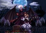 alternate_costume bare_shoulders bat_wings black_sclera blonde_hair blue_moon bouquet candelabra candle castle choker dress elbow_gloves emerane fence flandre_scarlet flower gloves highres merutoreimu moon multiple_girls no_hat no_headwear pink_rose red_eyes red_rose remilia_scarlet rose short_hair siblings side_ponytail silhouette sisters strapless_dress tears tombstone touhou white_hair wings