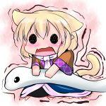 animal_ears blonde_hair cat_ears cat_tail chibi extra_ears fang hoshizuki_(seigetsu) kemonomimi_mode mishaguji mizuhashi_parsee open_mouth puru-see scarf snake solo tail touhou trembling white_snake