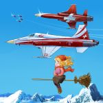 :d airplane blush broom broom_riding condensation_trail contrail emblem f-5 flying hat inui_(jt1116) inui_(pixiv) jet military mittens mountain open_mouth pantyhose patrouille_suisse pilot scarf sidesaddle smile striped striped_legwear swiss