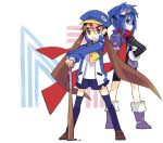 backpack bag baseball_bat blue_eyes blue_hair boots brown_eyes brown_hair choujigen_game_neptune company_connection compile_heart crossover disgaea female gloves goggles gust_(neptune_series) hands_on_hips hat idea_factory jacket kazamatsuri_fuuka kuma_jet long_hair looking_back makai_senki_disgaea_4 multiple_girls n1 nippon_ichi nippon_ichi_(choujigen_game_neptune) nisa open_mouth prinny randoseru scarf school_uniform sega thighhighs twintails very_long_hair zettai_ryouiki