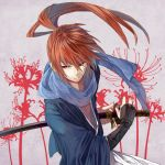 flower hakama highres himura_kenshin japanese_clothes katana kimono kote male ponytail purple_eyes ready_to_draw red_hair redhead rurouni_kenshin samurai scabbard scar scarf sheath sheathed solo sorax2112 spider_lily sword violet_eyes weapon