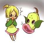1girl :o bare_shoulders barefoot blonde_hair censored detached_sleeves dress green_dress hands_to_mouth hitec moemon one_side_up open_mouth personification pokemon pokemon_(creature) pokemon_(game) pokemon_rgby short_hair side_ponytail source_request suprised surprised translation_request weepinbell white_background