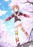 absurdres brown_hair card_captor_sakura cardcaptor_sakura cherry_blossoms child fingerless_gloves gloves green_eyes hat highres kinomoto_sakura kinoshita_neko necktie petals pleated_skirt roller_skates school_uniform short_hair skates skirt smile solo tree