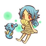 barefoot blue_hair blush_stickers cosplay dress fan female hair hitec horsea human moemon pokemon pokemon_(game) pokemon_rgby pokã©mon ponytail red_eyes short_hair simple_background