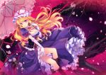 1girl blonde_hair boots breasts cherry_blossoms cleavage corset dress elbow_gloves gap gloves in_tree long_hair looking_at_viewer parasol petals purple_dress ribbon_choker shinia sitting sitting_in_tree smile solo touhou tree umbrella very_long_hair violet_eyes white_gloves yakumo_yukari