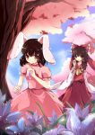 2girls absurdres animal_ears ascot bow brown_eyes brown_hair cherry_trees detached_sleeves dress flower hair_bow hair_tubes hakurei_reimu highres inaba_tewi jar jewelry long_hair multiple_girls pandako pendant pink_dress rabbit_ears red_eyes short_hair smile test_tube touhou